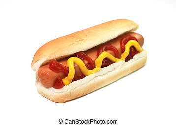 Hot dog with ketchup and mustard isolated on white...