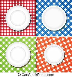 White plates on checkered tablecloth, collage image