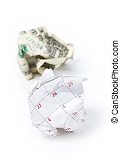 Calendar paper ball and dollar, concept of Wasting Time and...