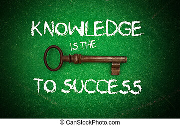 Knowledge is the key to success written on a green...
