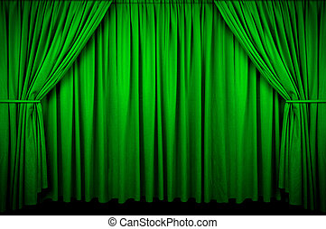 Event Curtain - Large Green curtain with spot light and...