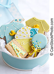 Baby shower cookies - Gift box filled with baby shower...