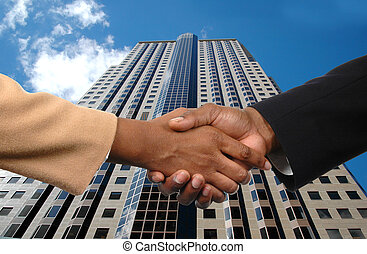 Business Agreement - Global agreement depicted by handshake...