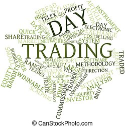 Day trading - Abstract word cloud for Day trading with...