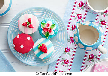 Summer tea party - Tea party with summer themed cupcakes