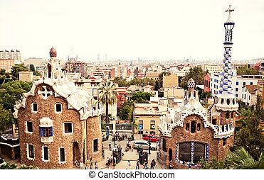 Park Guell designed by Gaudi in Barcelona