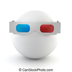 white ball with 3d glasses - 3d render on white