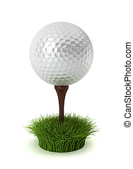 golf ball on grass - 3d render on white