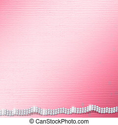 Pink card for invitation or congratulation with pearls