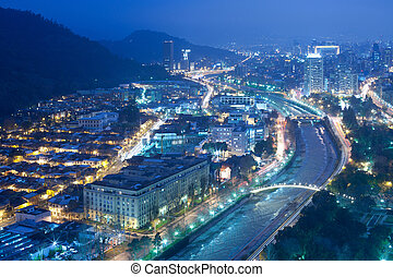 Night view of Santiago de Chile toward the east part of the...