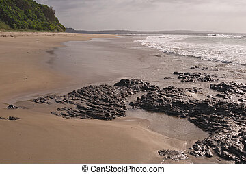 Wet rocks in sunlight - Black rocks and foam of breaking...