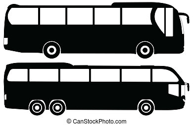 bus vector set - Silhouette two bus on a white background...