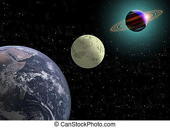Earth Moon, Saturn With A New Sun - Earth, moon and Saturn...