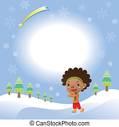 Christmas card with cute black girl