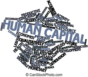 Human capital - Abstract word cloud for Human capital with...
