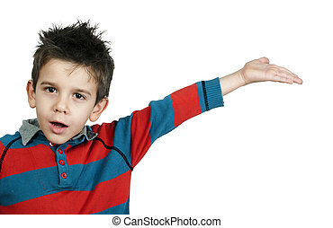Little boy who points a finger White isolated