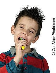 刷, 男孩, 他的, 牙齒