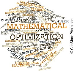 Mathematical optimization - Abstract word cloud for...