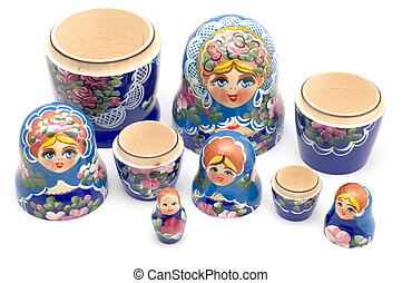 Russian national souvenir closeup - object on white -...
