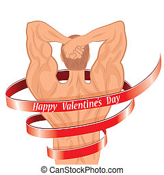 Man body shaped as heart for valentine day, sport silhouette...