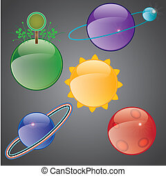 Planet Icons with glass effect vector illustration
