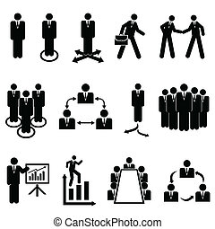 Businessmen, teams and teamwork icons