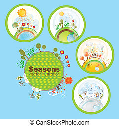 Seasons Icons - Four seasons Icons with beautiful...