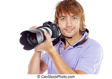 zoom shot - Handsome young man taking pictures on the camera...