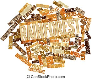 Rainforest - Abstract word cloud for Rainforest with related...