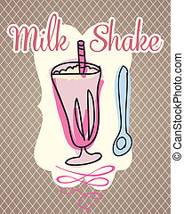 Coffee Icons - Milk shake on vintage background, vector...