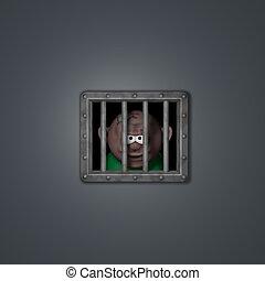 prisoner - cartoon guy behind riveted steel prison window -...