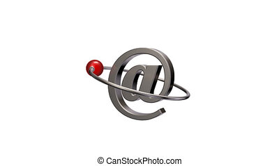 email symbol - red sphere fly around emailsymbol - 3d...