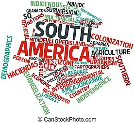 South America - Abstract word cloud for South America with...