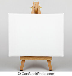 Canvas on Easel - A white canvas on an easel.