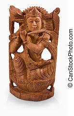 hindú, dios, Krishna, juego, flauta