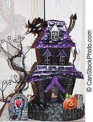 Haunted halloween house - Haunted house with pumpkin, witch,...