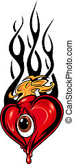 Heart tattoo or mascot with eye and tribal flames