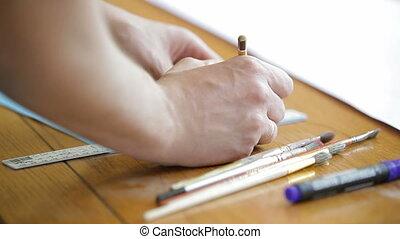 Art tools - A person using art tools