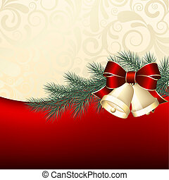 Christmas background with gold bells Vector illustration