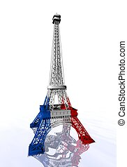 French flag colors on Eiffel tower - 3D render - French flag...