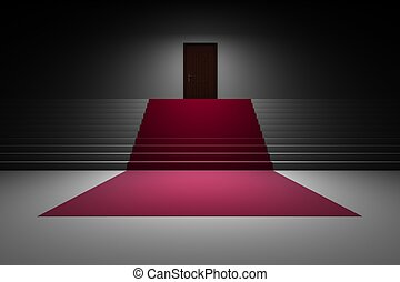 Stairs with red carpet and door