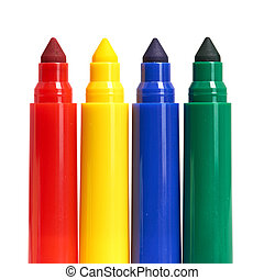 Multicolored Felt-Tip Pens isolated on white background -...