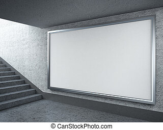 Blank billboard in subway - 3d render of Blank billboard in...