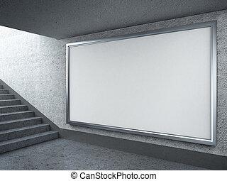 Blank billboard in subway - 3d render of Blank billboard in...