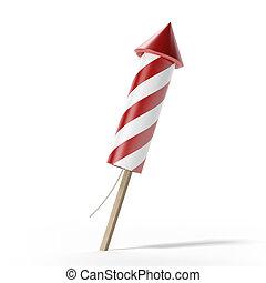 Red fireworks rocket - 3d render of fireworks rocket...
