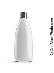 White shampoo bottle isolated on white background