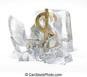 Golden Dollar symbol frozen inside an ice cube isolated on...
