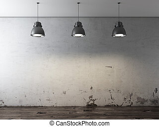 Room with ceiling lamps and grunge wall. 3d render