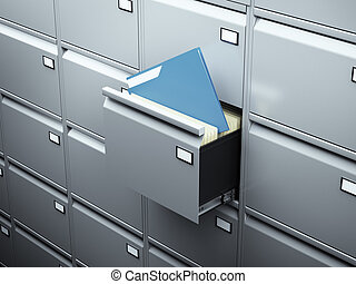 File cabinet with blue document in dark room