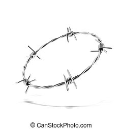 Barbed wire wreath isolated on white background